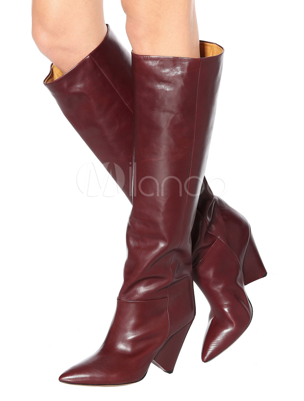 29f8ba917fe ... Women Wide Calf Boots Knee High Boots Burgundy Leather Pointed Toe High  Heel Boots-No. 1. 40%OFF. Color Burgundy