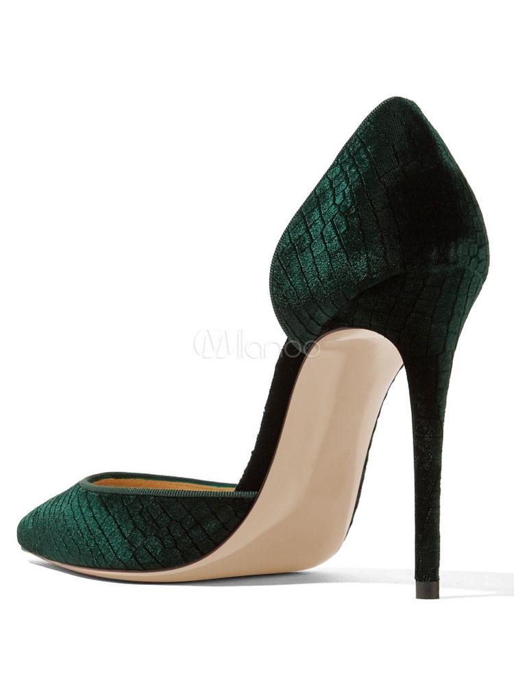 Alto Tacón Zapatos De Moderno Terciopelo Puntera Novia Musgos Verde Stiletto Puntiaguada Estilo Yfbgy76v