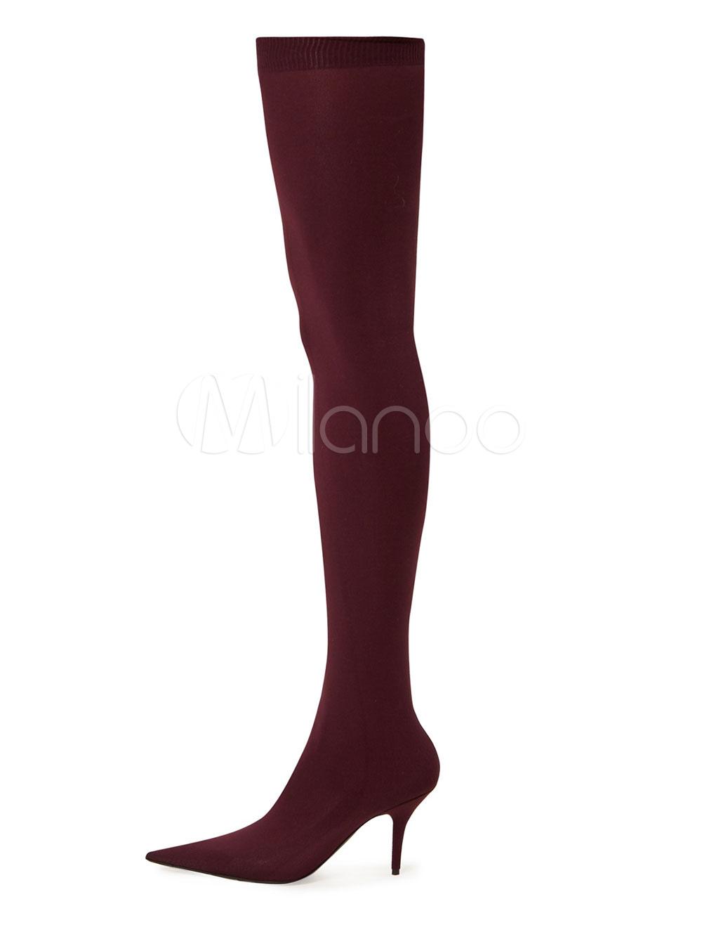 Botas sobre la rodilla con pala de spandex Color liso estilo moderno jk5Y34ZX7