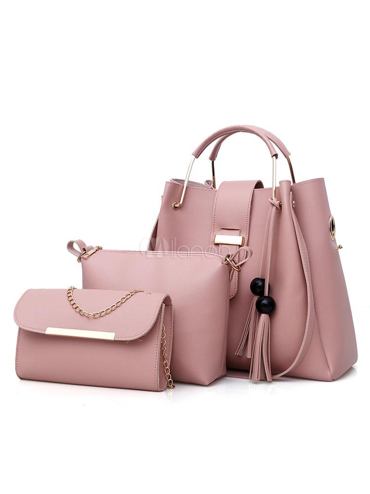 Leather Purse Bag Set Shoulder Handbags With Messenger Bag Clutch Bag Cameo  Pink Composite Bag 3 ... cf2c2e4cf5fca