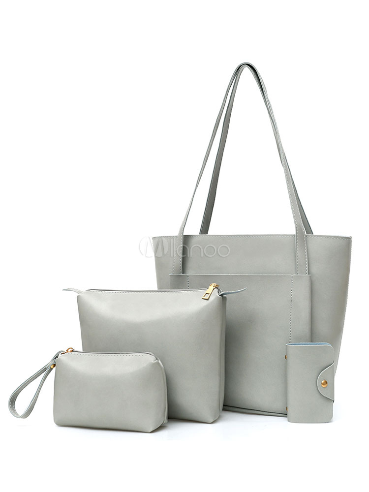 Leather Purse Set 4 Pcs Handbags With Messenger Bag Clutch Bags Wallet Grey Composite Bags For Women