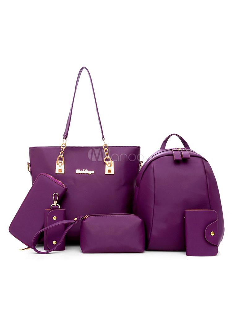 Leather Purse Bag Set Of 6 Pcs Purple Composite Bags For Women