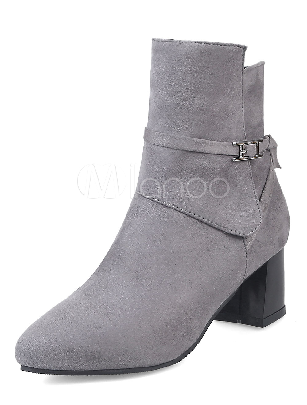 Buy Grey Suede Boots Women Ankle Boots Pointed Toe Winter Boots for $37.99 in Milanoo store