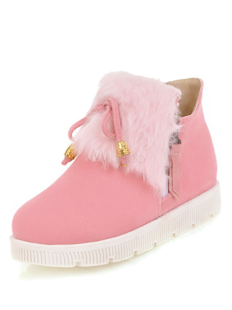 Buy Pink Winter Boots Women Suede Booties Round Toe Faux Fur Detail Ankle Booties for $37.99 in Milanoo store
