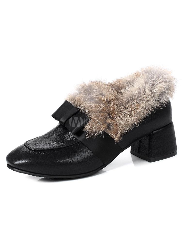 Zapatos Mocasín de tacón gordo slip-on de puntera cuadrada estilo moderno Color liso AvAmAlUz