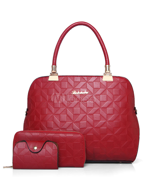 Red Leather Purse Set Handbags With Clutch Bag Wallet Composite Bags 3 Pcs For Women