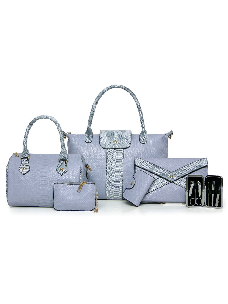 Women Leather Purse Set Of 6 Pcs Illusion Blue Handbags