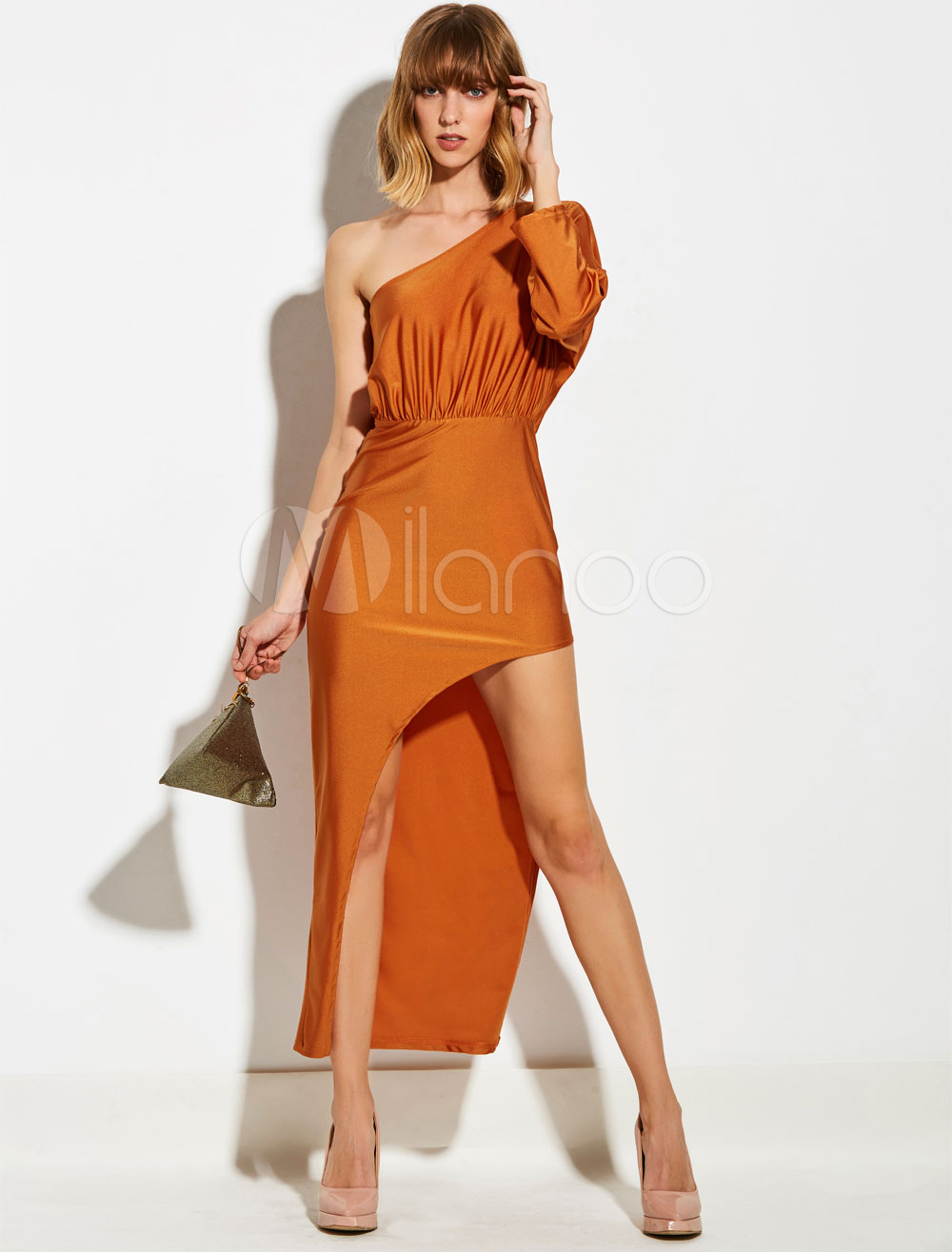 Buy Women Bodycon Dresses Long Sleeve One Shoulder Draped Asymmetrical Orange Red Maxi Dress for $35.99 in Milanoo store