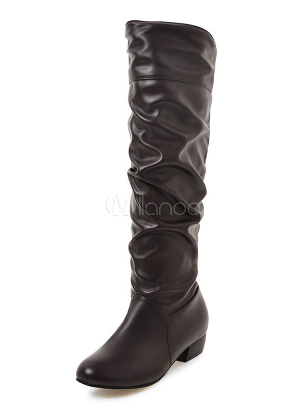 Brown Mid Calf Boots Women Boots Round Toe Slip On Flat Boots