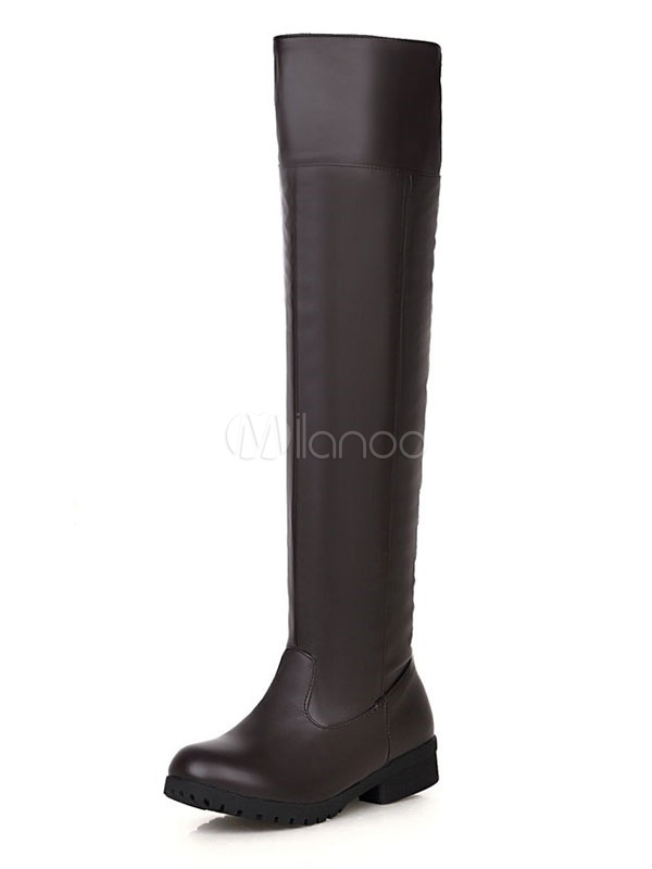 Brown Over Knee Boots Women Boots Round Toe Slip On Flat Boots