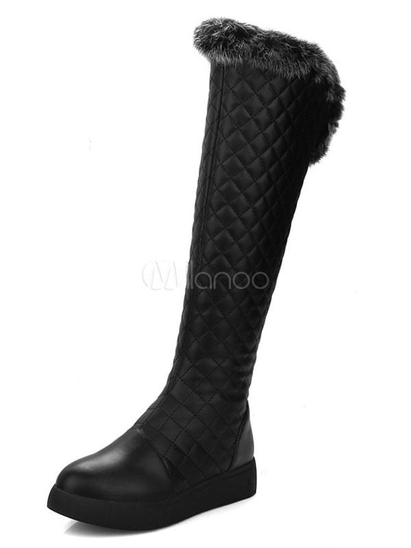 Botas a la rodilla de PU con dibujo de romboide de piel sintética XDsTVHqa6