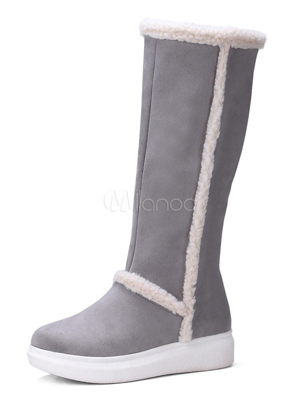Buy Grey Winter Boots Women Mid Calf Boots Round Toe Slip On Flat Boots for $40.49 in Milanoo store
