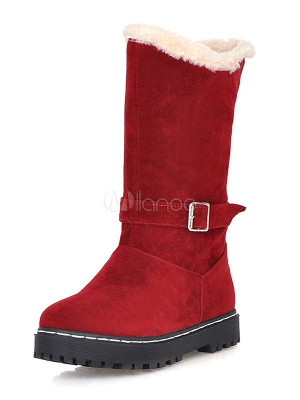 Buy Red Winter Boots Women Boots Round Toe Slip On Mid Calf Boots for $33.24 in Milanoo store