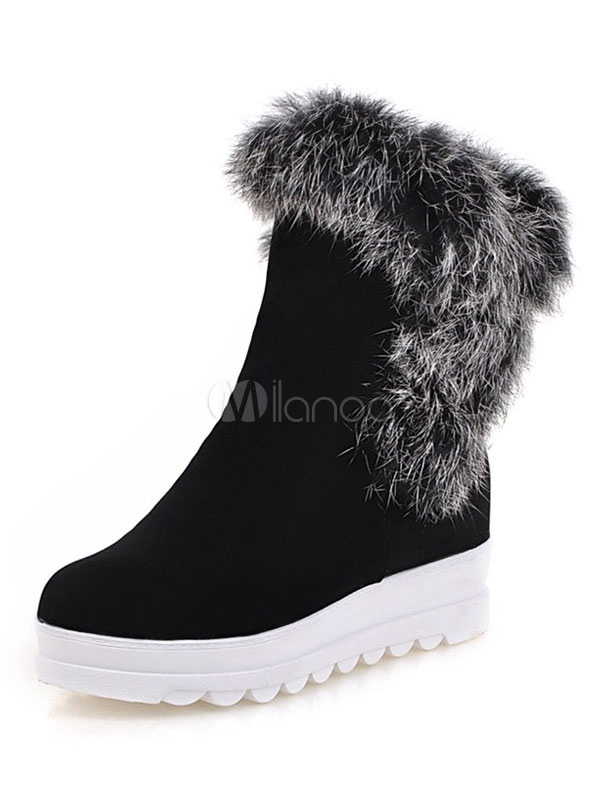Buy Black Winter Boots Women Suede Boots Round Toe Faux Fur Detail Casual Boots for $38.69 in Milanoo store