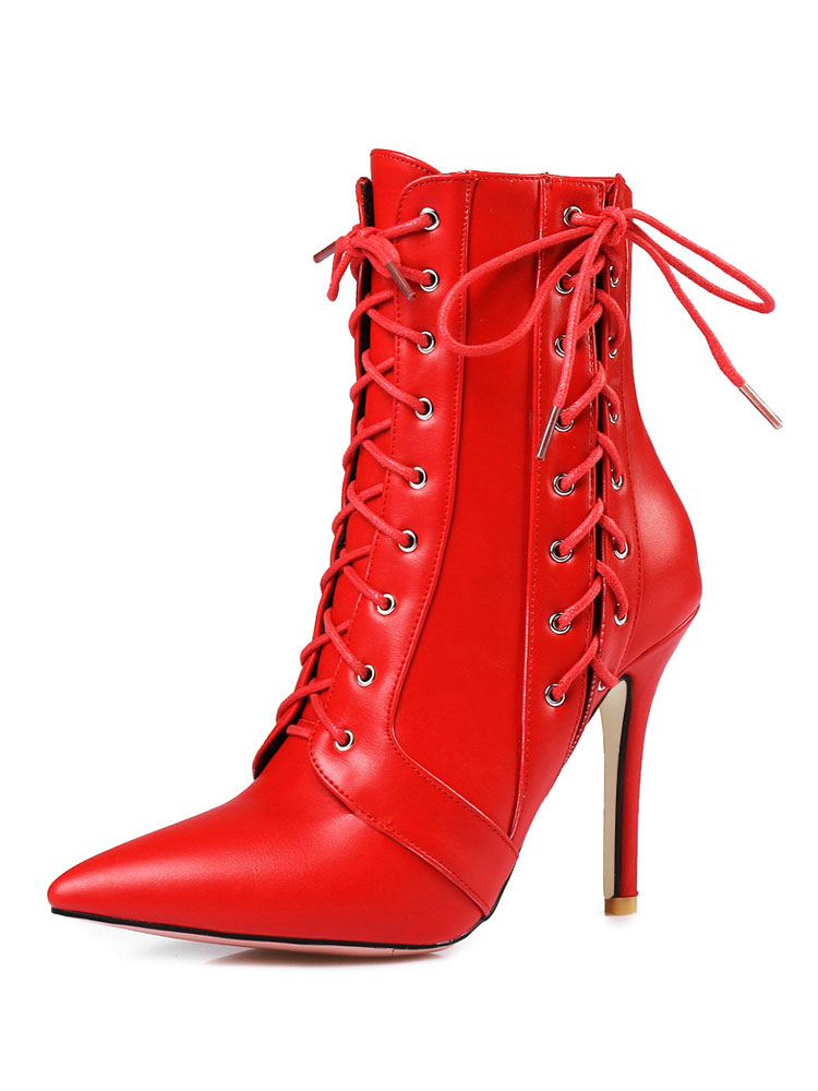 High Heel Booties Red Ankle Boots