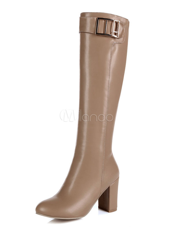 High Heel Boots Knee High Boots Apricot Round Toe Metal Detail Women Boots