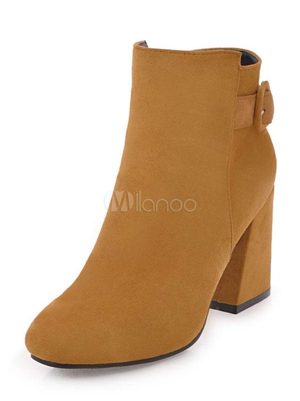 Buy Women Ankle Boots High Heel Booties Light Brown Round Toe Suede Booties for $34.99 in Milanoo store