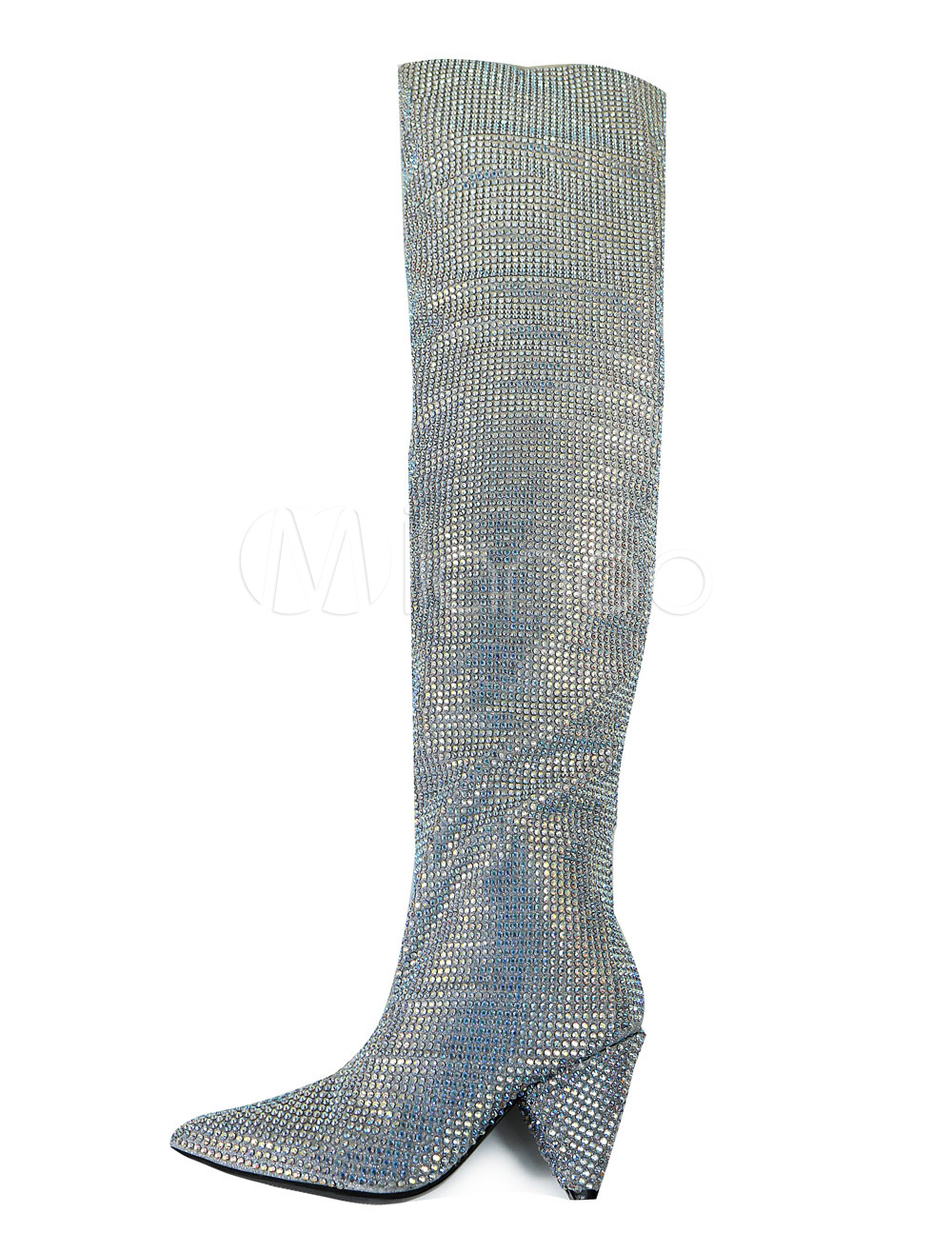 94414d39512 Women Wide Calf Boots Glitter Boots Silver Pointed Toe Rhinestones Knee  High Boots-No.