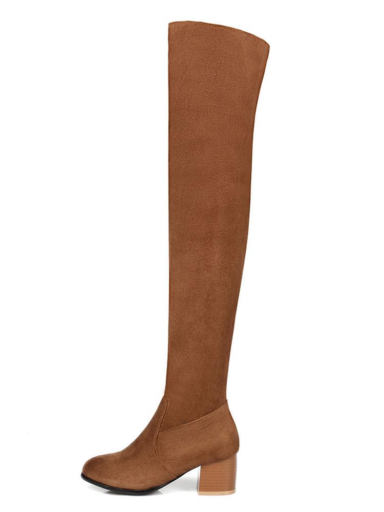 selezione migliore 9210b c8db1 Stivali sopra al ginocchio marroni neri chic & moderni stivali tacco largo  monocolore termico zip con Tubo di 54-56cm