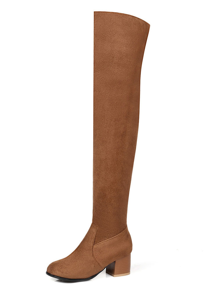 85fc16a1135 ... Thigh High Boots Women Suede Boots Brown Round Toe Over Knee Boots-No.3  ...