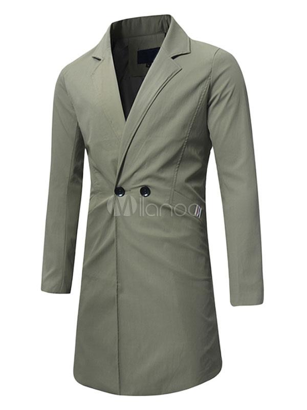 Men Spring Coat Hunter Green Overcoat Turndown Collar Long Sleeve Trench Coat