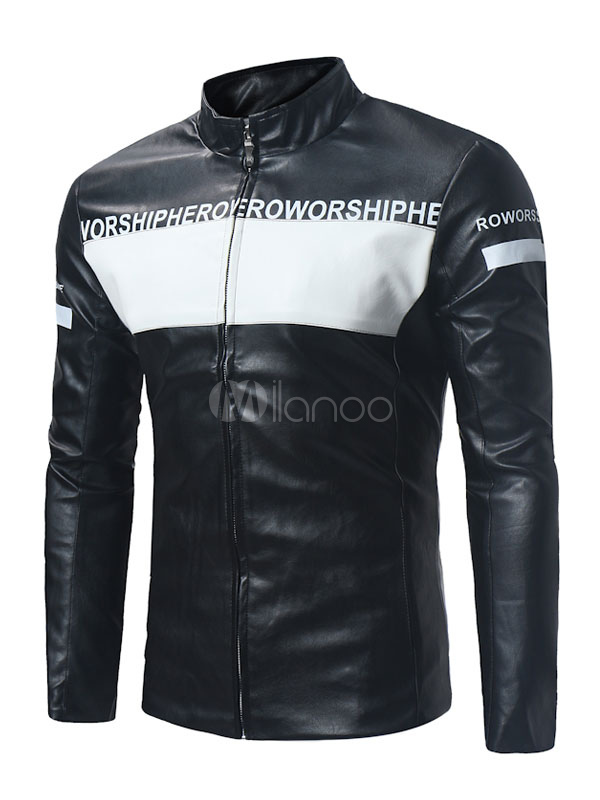 Buy Men Leather Jacket Black Spring Jacket Stand Collar Long Sleeve Regular Fit Short Jacket for $35.99 in Milanoo store