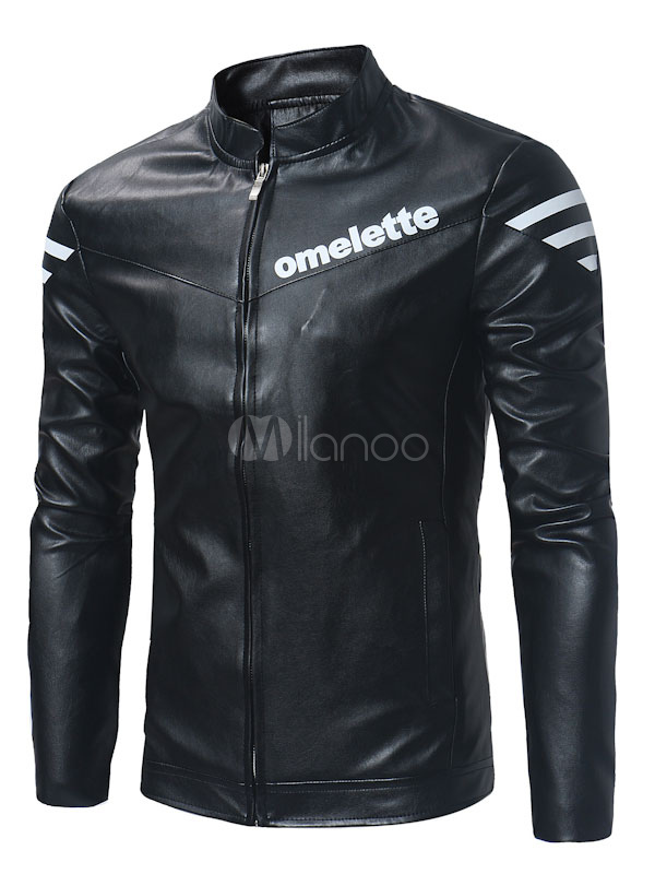 Buy Black Leather Jacket Men Windbreaker Jacket Stand Collar Long Sleeve Zip Up Short Jacket for $36.54 in Milanoo store