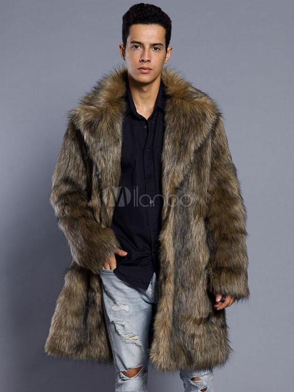 3743cb814 Brown Faux Fur Coat Men Overcoat Turndown Collar Long Sleeve Winter Coat