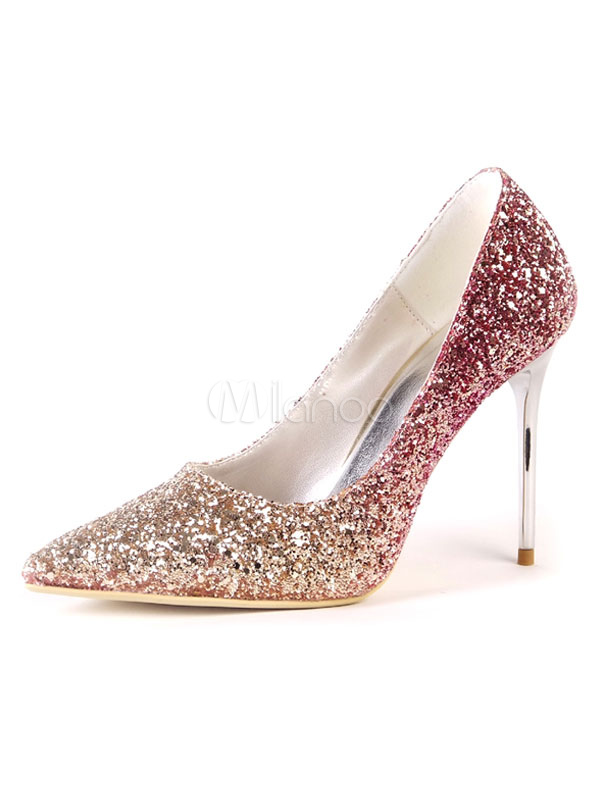 Women Dress Shoes Sequined Evening Shoes Red Pointed Toe Slip On High Heels
