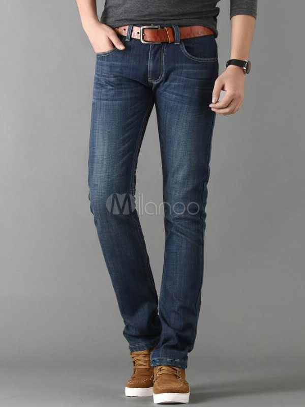 Buy Mens Denim Jeans Straight Long Deep Blue Jeans Pants for $31.49 in Milanoo store