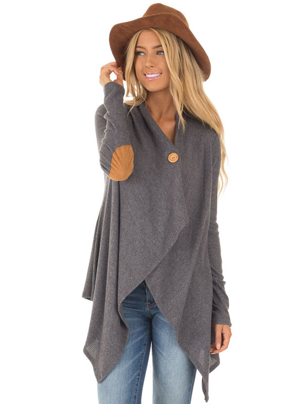 Grey Long Cardigan V Neck Long Sleeve Patch Irregular Women Sweater Cardigan