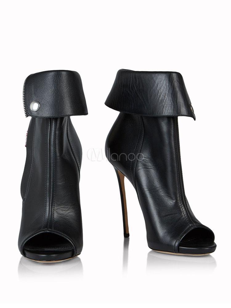 Buy Women Ankle Boots High Heel Booties Peep Toe Zipper Detail Sandal Booties for $98.09 in Milanoo store