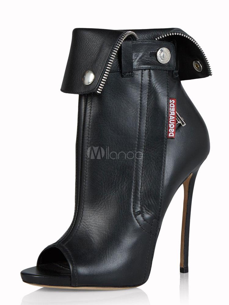 Zapatos negra de PU de punter Peep Toe de tacón de stiletto Otoño estilo street wear estilo moderno qra7MNk5X