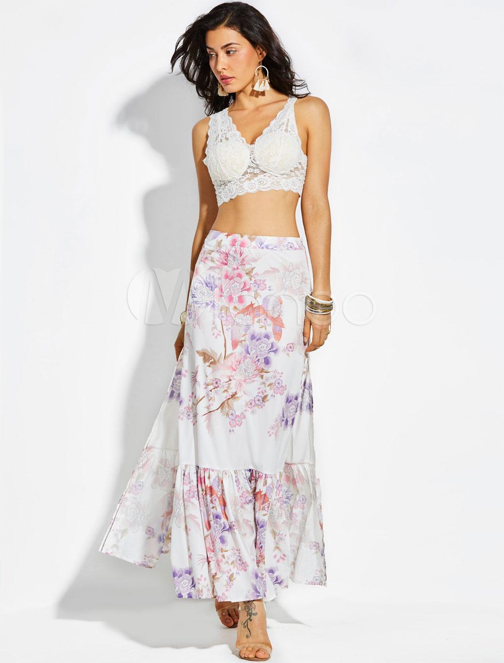 White Women Skirt Floral Ruffle Slit Long Chiffon Skirt