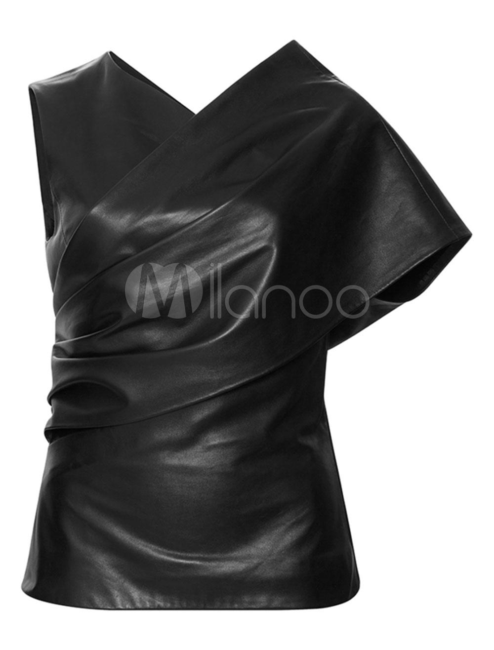 Women Club Top PU V Neck Short Sleeve Asymmetrical Black Club Wear Cheap clothes, free shipping worldwide