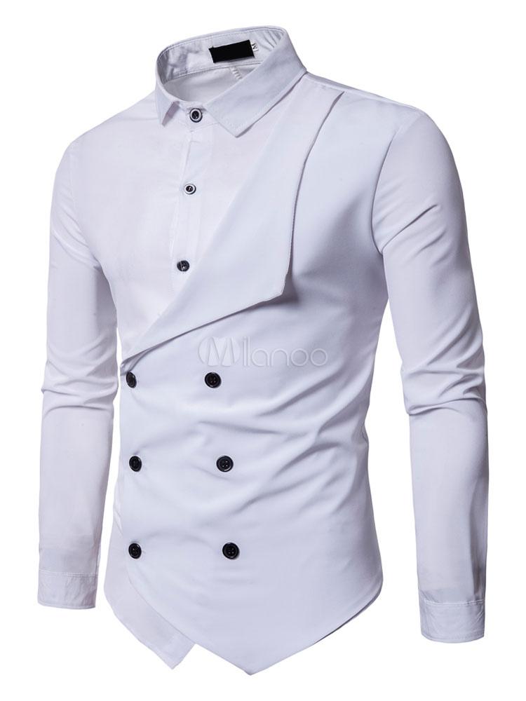 Long Sleeve Shirt White Men Shirt Fake Two Piece Turndown Collar Slim Fit Casual Shirt