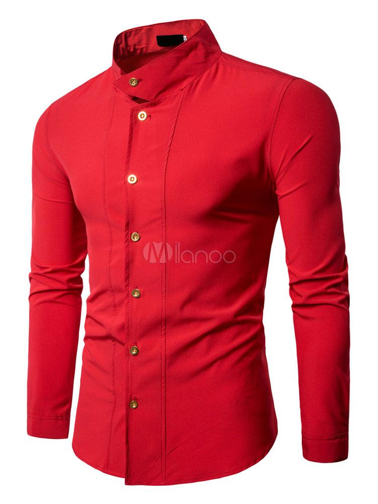 White Men Shirt Long Sleeve Shirt Stand Collar Long Sleeve Slim Fit Cotton Shirt