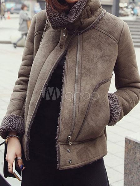 online retailer c532d 6e311 Giubbotto in pelle scamosciata Giacca invernale Giaccone manica lunga collo  manica lunga pelle di pecora