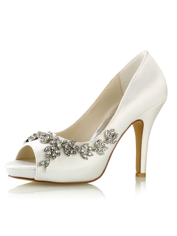 Zapatos de punter Peep Toe de tacón de stiletto de seda sintética elegantes Fiesta de bodas T4vIJUBm