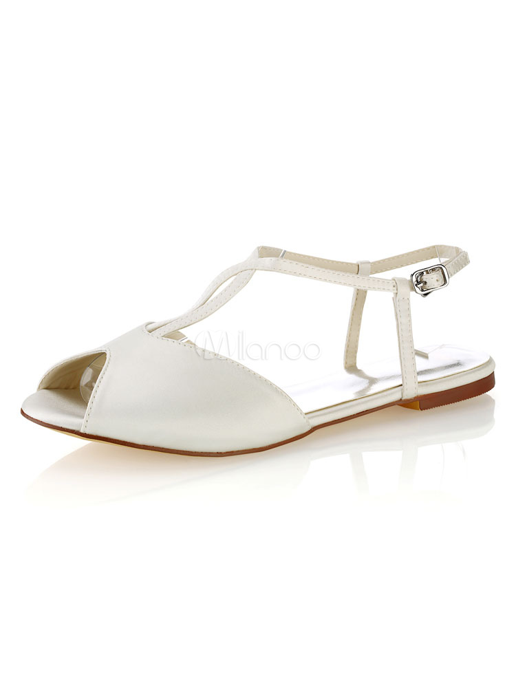 Wedding Shoes Ivory Flat Peep Toe Bridal Sandals Milanoo Com