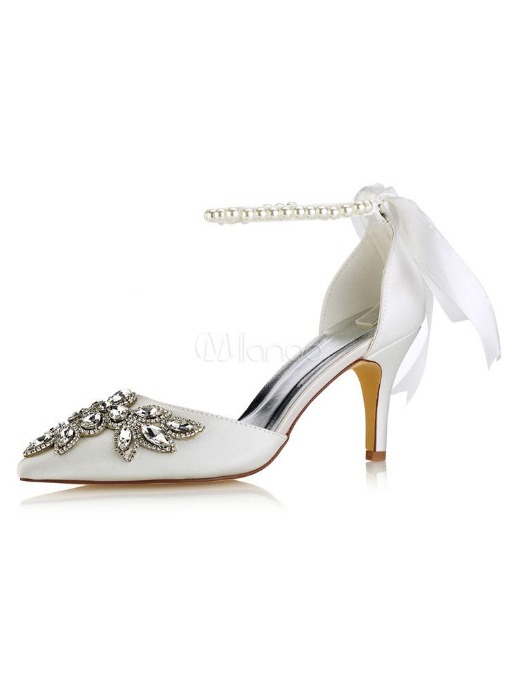 Zapatos de seda sintética de tacón de stiletto de puntera puntiaguada de marfil elegantes Fiesta de bodas 0se70yeeZY