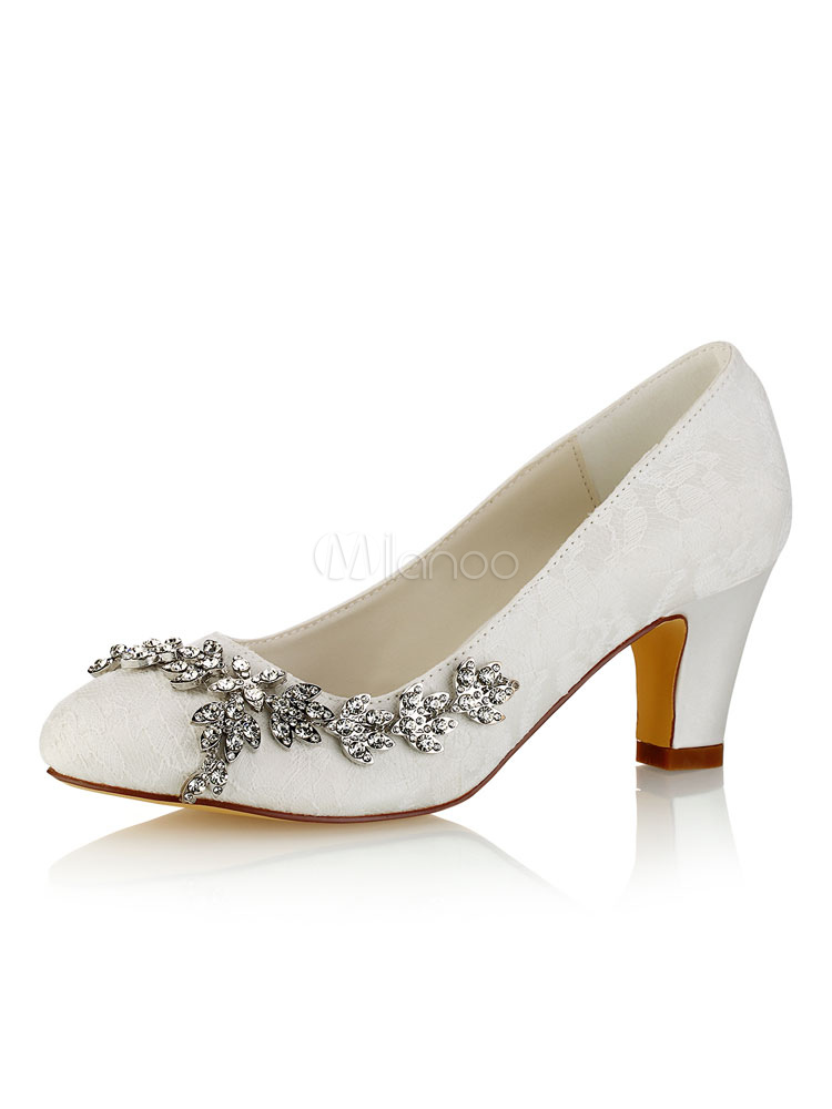 Women Bridal Shoes Lace Wedding Shoes Ivory Round Toe Rhinestones Slip On Shoes