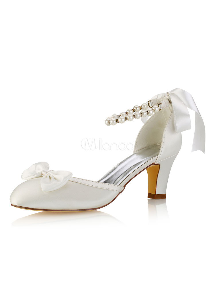 Buy Vintage Wedding Shoes Silk Ivory Round Toe Bow Pearls Ankle Strap Bridal Shoes for $53.09 in Milanoo store