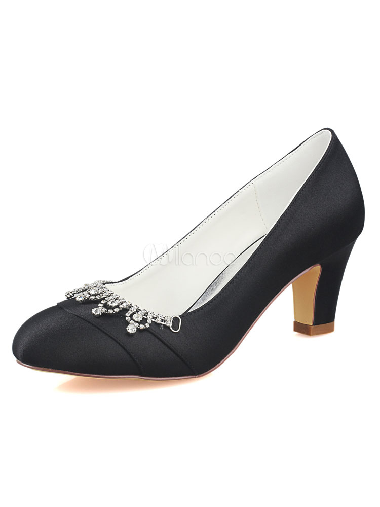 8f629b1c3896 Black Mother Of The Bride Shoes Wedding Guest Shoes Round Toe Rhinestones  Wedding Shoes-No ...