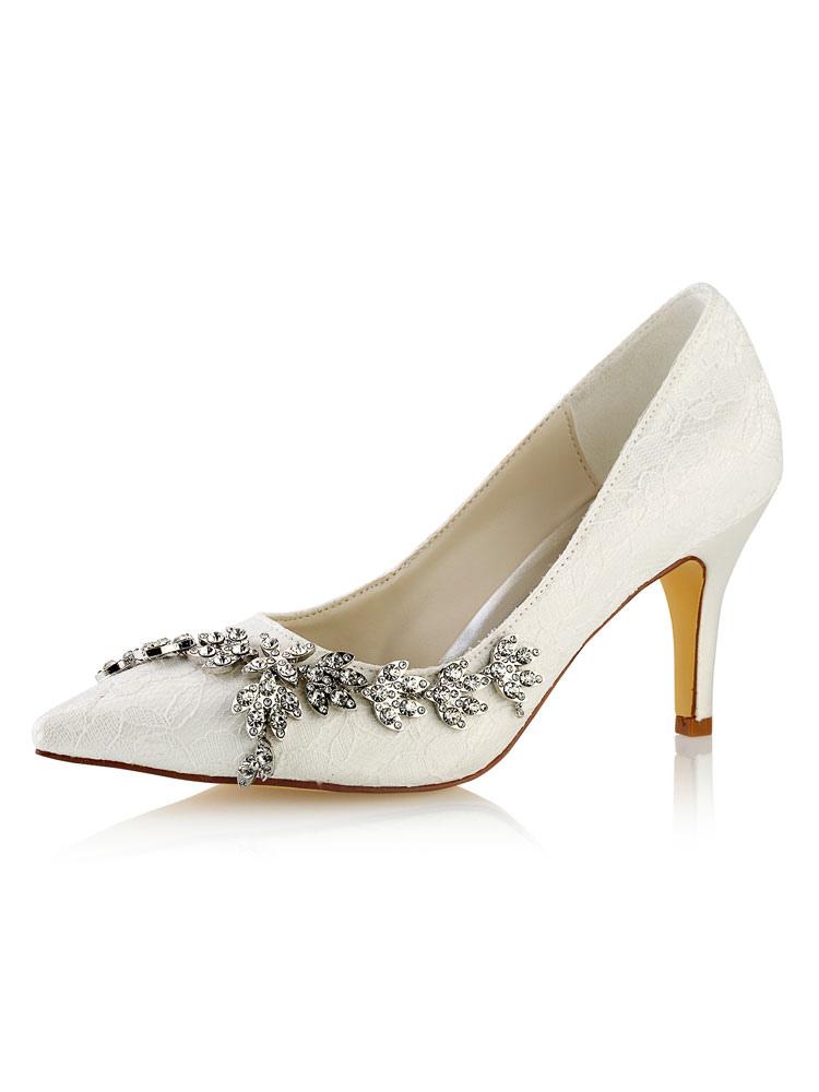 Ivory Wedding Shoes Pointed Toe Rhinestones Slip On Bridal Shoes Women High Heels