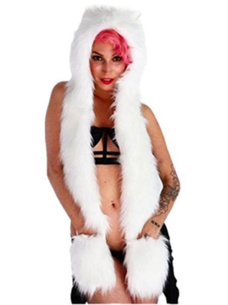 Buy Faux Fur Hats White Animal Ears Hood Winter Fluffy Mitten Scarf Paws for $11.89 in Milanoo store