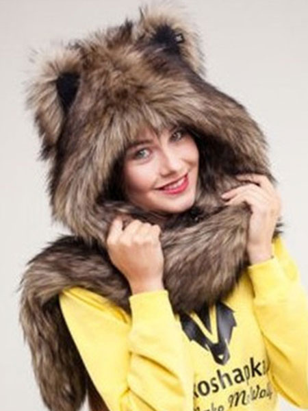 Buy Winter Faux Fur Hats Animal Ears Hood Paws Fluffy Mitten Scarfs for $11.19 in Milanoo store