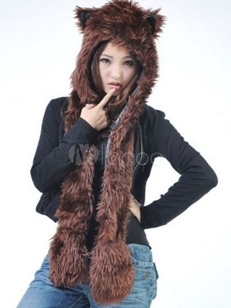 Buy Faux Fur Hats Winter Animal Ears Hood Paws Pockets Fluffy Mitten Scarfs for $14.99 in Milanoo store