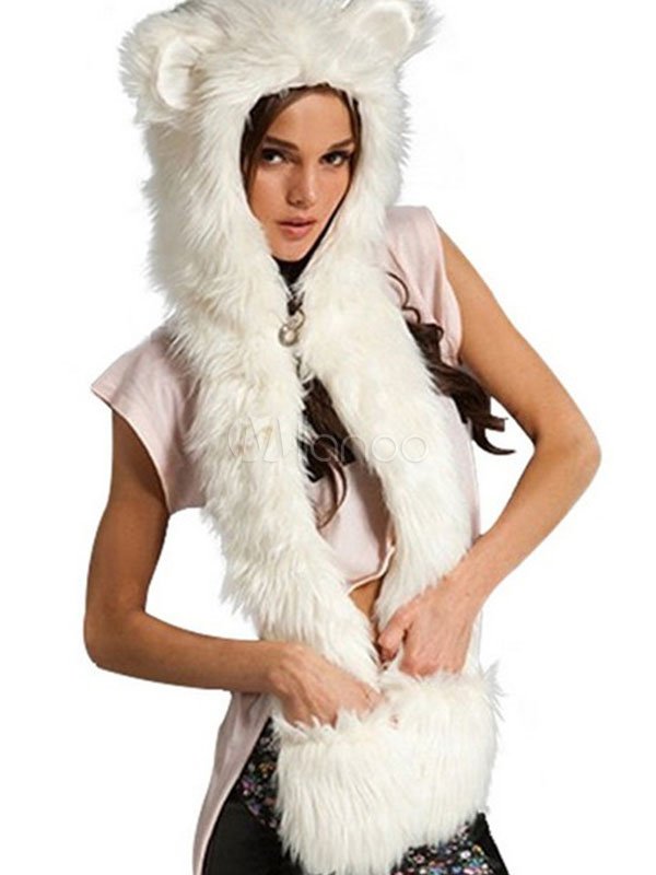 Winter Faux Fur Hats White Animal Ears Hood Paws Mitten Scarfs