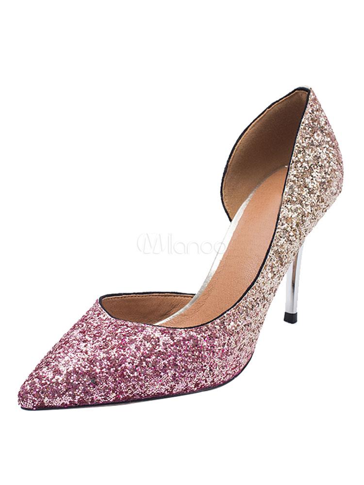 Zapatos de novia Zapatos de tacón alto de tacón de stiletto de puntera puntiaguada Tela-brillantes estilo moderno DlEJj